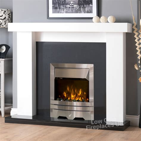 kensington electric fireplace suite  white  black