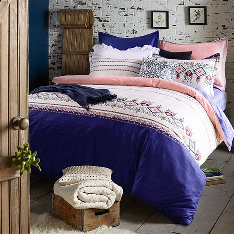 refreshing royal blue and pink cotton bedding set
