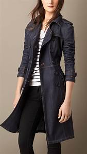 Lyst - Burberry Japanese Denim Structured Trench Coat in Blue