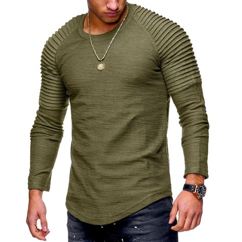 fashion mens  neck slim solid color long