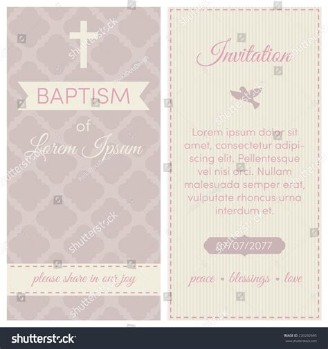 Baptism Invitation Template Pink Puce And Cream Colors