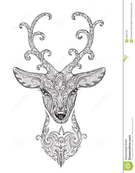stylized image tattoo   beautiful forest deer head