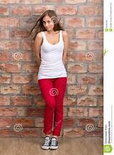 Girl in red pants