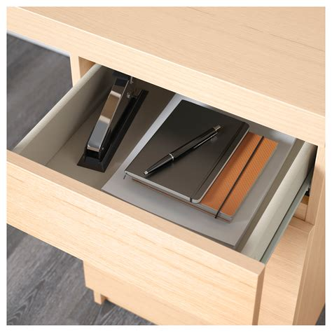 bureau malm malm bureau plaqué chêne blanchi 140x65 cm ikea