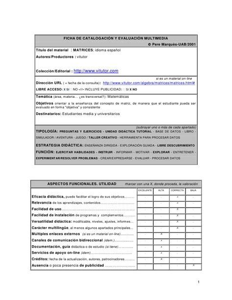 Ficha De Evaluacion Matrices