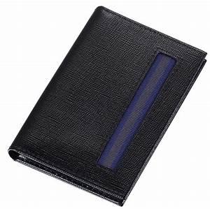 Caseti black leather weave pattern thin business card holder for Thin business card holder