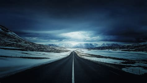 Road Iceland Clouds Highway Mountains Landscape 4k Hd