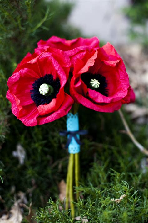 black poppy flower bright red and black poppy bridal bouquet made from handmade paper wedding flowers onewed com