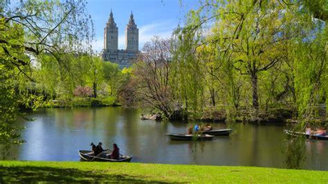 Paddle Boating Central Park Nyc by Central Park Lake With Boats Stock Footage 3979549