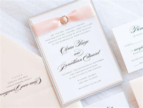 elegant & formal wedding invitation with satin ribbon and