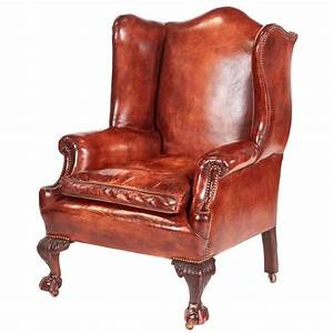 Antique, Leather, Wing, Back, Library, Chair, For, Sale, At, 1stdibs
