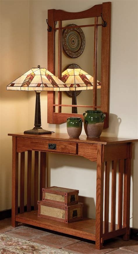 Mission Oak Entryway Wall Mirror And Console Table