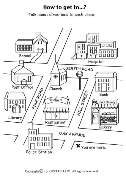 Kindergarten Neighborhood Map Worksheets  Mapping And Directions Worksheets Free Printables