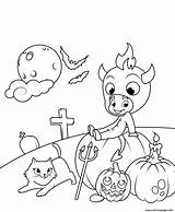 Coloring Halloween Devil Cat Pages Cute Pumpkins Printable sketch template