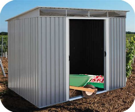 pent metal shed duramax 8x6 pent roof metal shed kit w skylights 50371