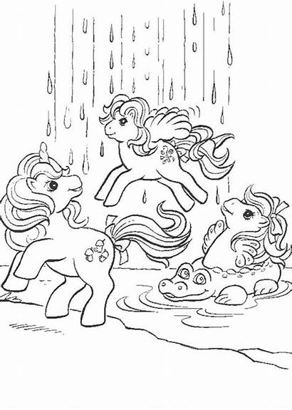 Pony Waterfall Coloring Printable Ponies Colorear Dibujos
