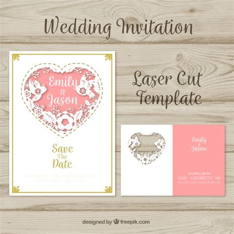 Laser Cut Invitation For Wedding With A Heart Vector