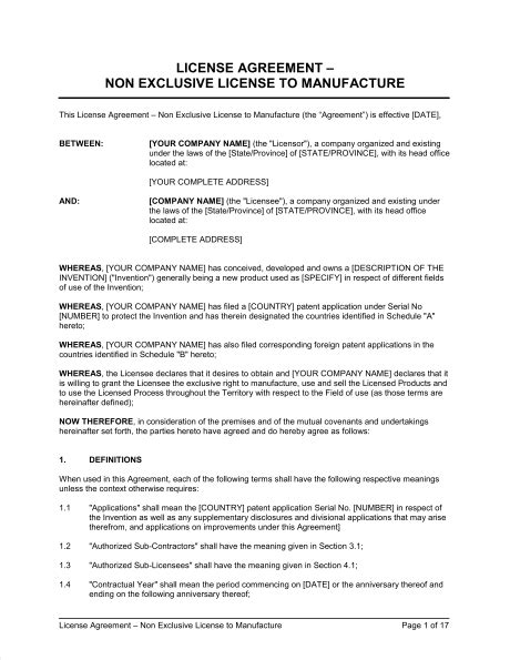 license agreement  exclusive license  manufacture