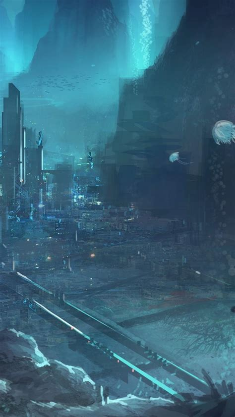 artwork cities futuristic science fiction underwater