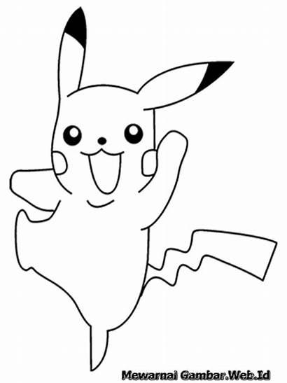 Pikachu Coloring Gambar Pokemon Mewarnai Printable Diwarnai