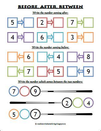 math worksheets for kindergarten before after between worksheet