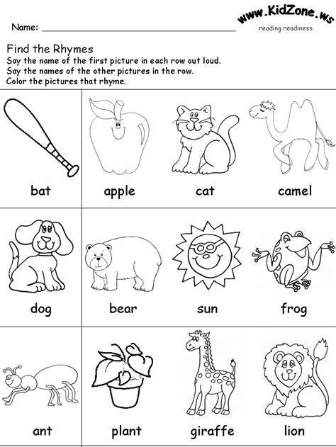 rhyming worksheet rhymes pinterest worksheets