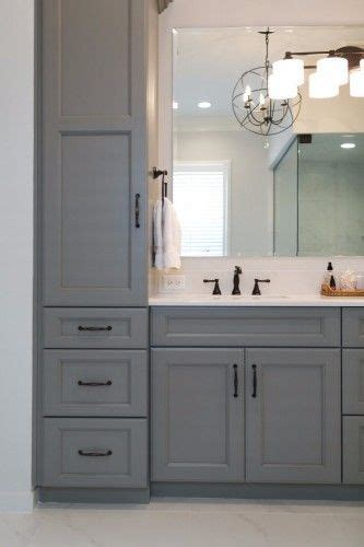gray bathroom vanity  towers  drawers  storage