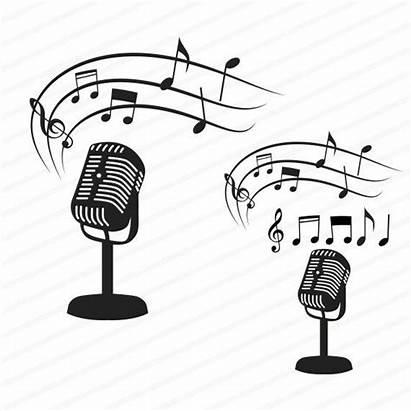 Microphone Svg Musical Notes Clip Vector Cricut