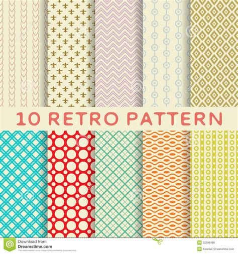 Retro Different Vector Seamless Patterns (tiling). Stock ...