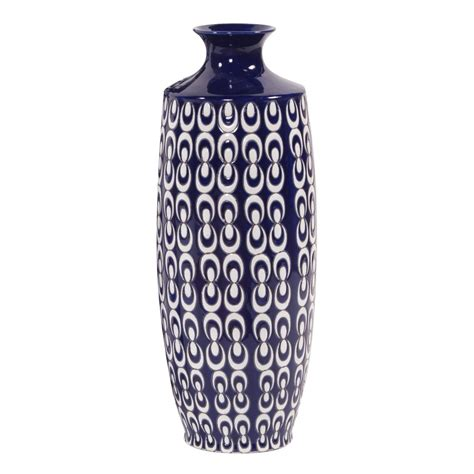 Navy Floor Vase by Navy Blue And White Textured Ceramic Vase Small