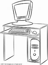 Computer Desk Coloring Pages Colouring Printables sketch template