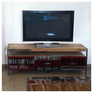 meuble tv loft en fer et bois de bateau recycle With meuble new york