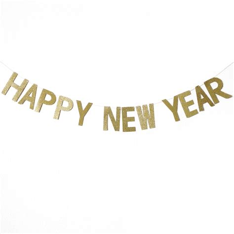 happy  year gold glitters letter banner misty daydream