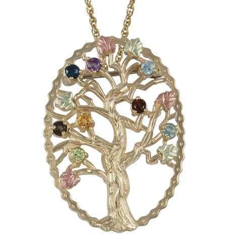 black hills gold family tree birthstone necklace