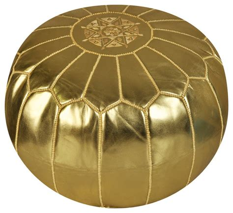 Gold Ottoman Pouf by Moroccan Gold Metallic Ski Leather Pouf Mediterranean