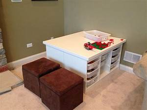 2 Ikea Trofast units back to back with an MDF table top