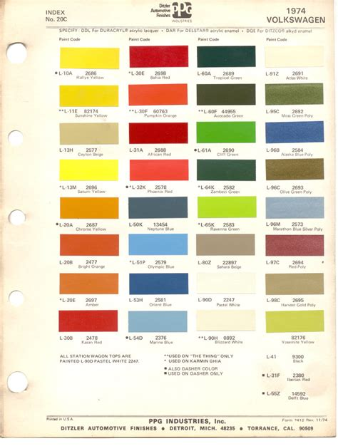 paint chips 1974 beetle vw volkswagen