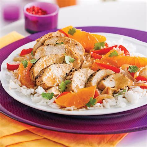 recettes de cuisine minceur poitrines de poulet aux clémentines et coriandre
