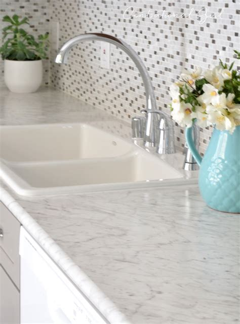 marble look countertops gray white kitchen remodel centsational style