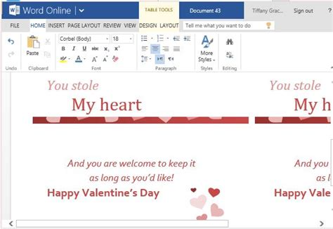 Change Text In Paraboot Template by Valentine Cards Maker Template For Word Online