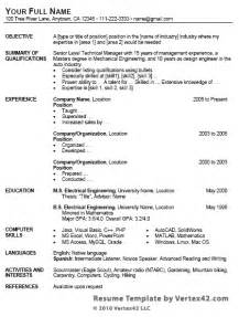 Microsoft Word Format Resume by Free Resume Template For Microsoft Word