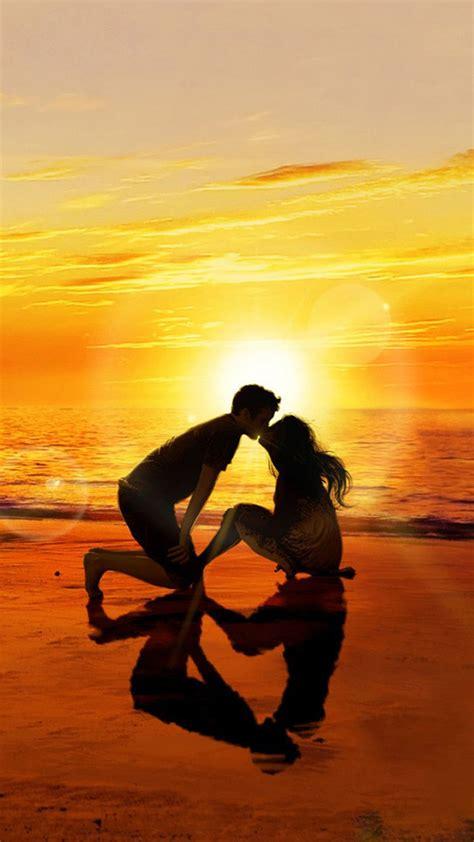 kissing lover sunset beach iphone  wallpaper wallpaper