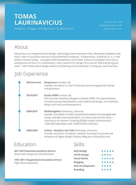Exle Of A Modern Day Resume by Free Minimal Resume Psd Template