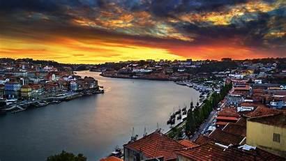 Portugal Porto River Sunset Landscape Boat Bridge