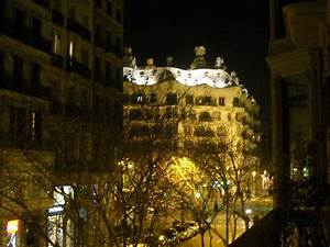 Casa Mila from our balcony at night
