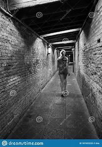 Alone, Woman, Running, In, Dark, Tunnel, Editorial, Stock, Photo