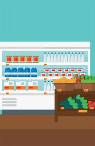 Background of supermarket shelves with products vector ...