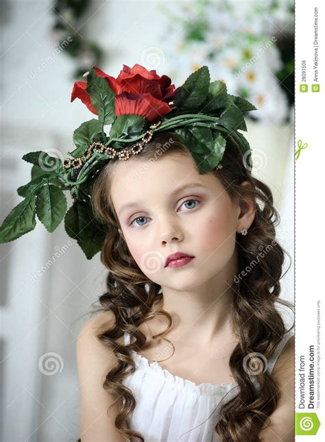 portrait   girl  flowers stock photo image