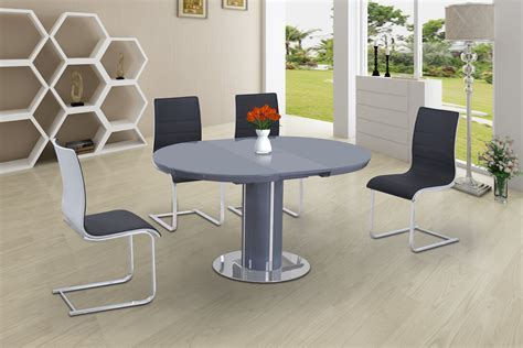 Round High Gloss Glass Dining and 6 Grey with White Chairs
