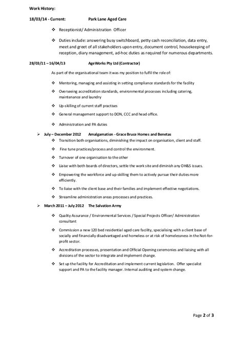 Aged Care Resume Summary by Resume Kellie Wynne Current Admin